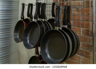 several pans close up