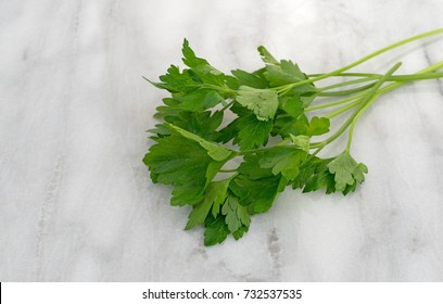 Several parsley sprigs atop a gray marble cutting board.