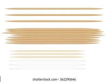 Several photorealistic toothpicks. On the topic of hygiene and health. Isolated on white background. Exploitable for printing design. Isolated on white background.