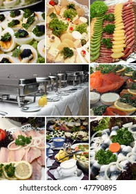 several pictures of a cold buffet