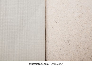 Several pieces of chipboard with texture isolated on white background.