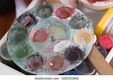 Several pigments in different colors form nature in a painters studio,Thailand.