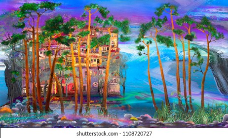 several pine trees in town, oil painting artwork