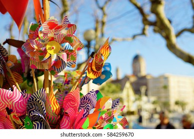 Several pinwheel for sell in the french riviera.