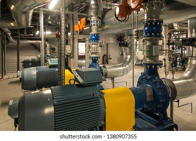 several pumps with engines in the water system on the boiler room