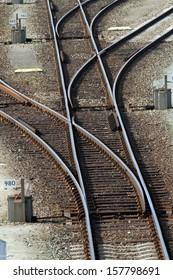 Several railroad tracks