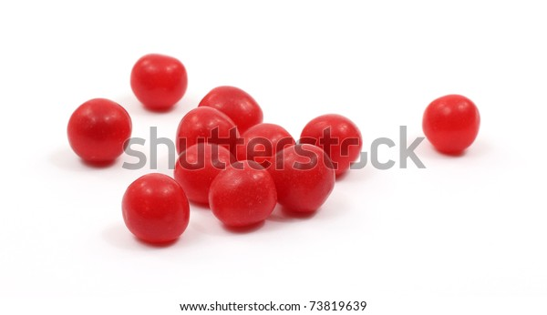Several Red Cherry Sour Balls Scattered Stock Photo Edit Now 73819639