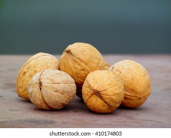 Several ripe walnuts