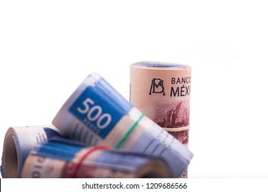 several rolls of Mexican pesos 500 pesos