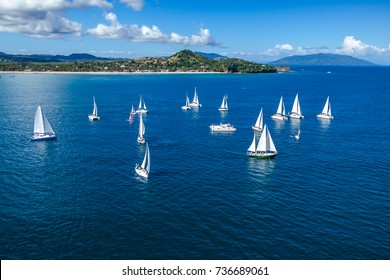 Several sailboats offshore Nosy Be, Madagascar