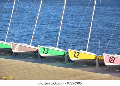 Several sailing boats resting in a dock