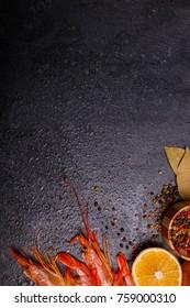 Several shrimps, slice of lemon, several laurel and spices. Place for the inscription.