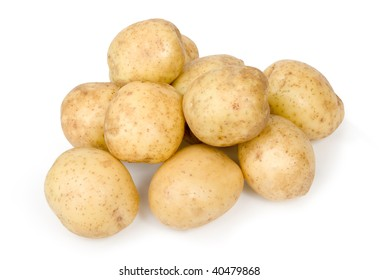 Several spuds on white background.