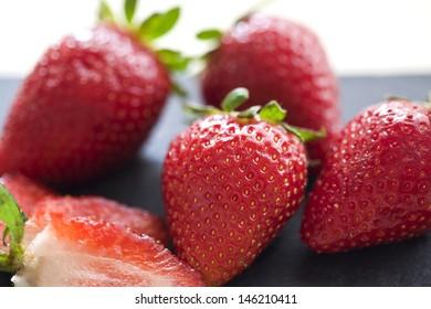 Several strawberries.