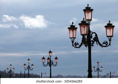 several street lamps