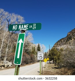 Several street signs along side of road in Utah, USA.