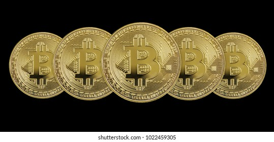 Several symbolic golden coins of bitcoin crypto currency, new digital money in cyber world, isolated on black background