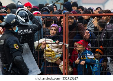 Several thousand refugees are wandering into the direction of Deutscland Dramatical picture from European refugees crisis see my collection from refugees 25.10.2015 Slovenia dobova