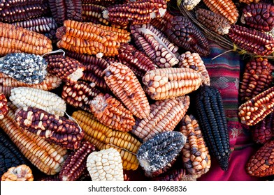 Several traditional varieties of corn in a Peru marketplace in the Urubamba Valley.
