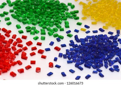 several transparent dyed polymer resins for injection moulding