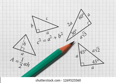 Several triangles and their math properties written on bright background