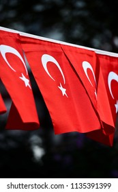 Several Turkey flags are seen during the country's national day