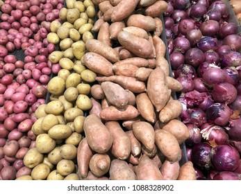 Several vegetables make a produce background