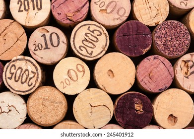 Several Wine Corks Close-up from above