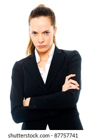 Severe businesswoman with arms crossed on white background studio