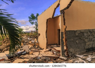 severe damage from earthquake and liquefaction natural disasters in Petobo village, Palu city, Central Sulawesi