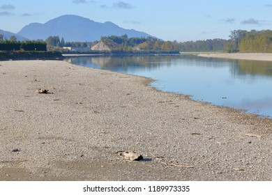 A severe drought has exposed the riverbed and significantly narrowed a major river, the Fraser, in southern British Columbia, Canada.