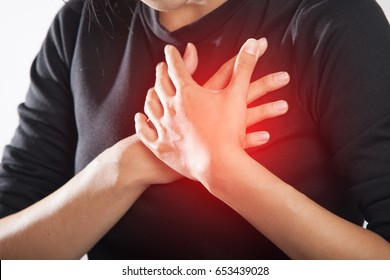 Severe heartache, woman suffering from chest pain.