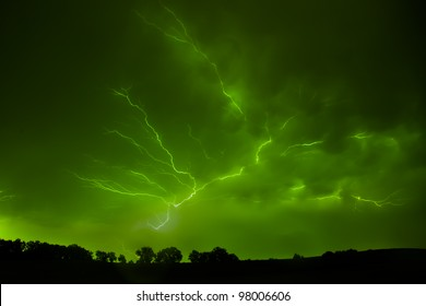 Severe lightning during a summer's night thunder storm