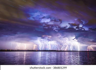 A severe lightning storm with power outages cause of the storm.