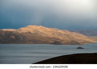 severe mountain landscape at Laguna Lagunillas lake in Peru