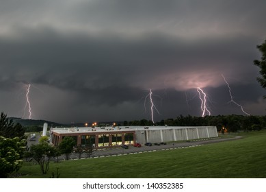 A severe thunderstorm approaches a Hudson valley factory