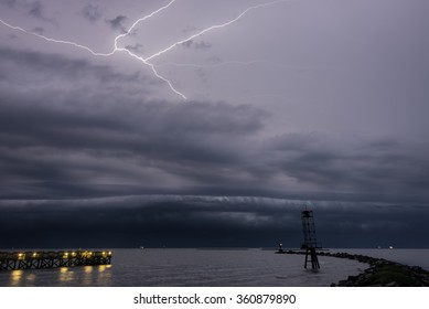 A severe thunderstorm crosses the Chesapeake Bay approaching Cape Charles, Virginia.