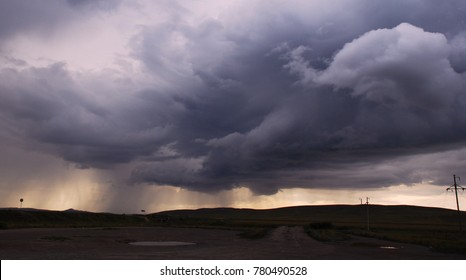 Severe thunderstorm lowering cloud threatens tornado,  Tornado, Hailstorm, Squall, Storm, Rain