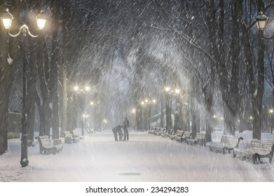 Severe weather in Kiev citizens favorite park, twilight hid fog and snowfall old trees, fall asleep benches, lights shine through the mist,  a strong wind blows snowflakes quickly through the branches