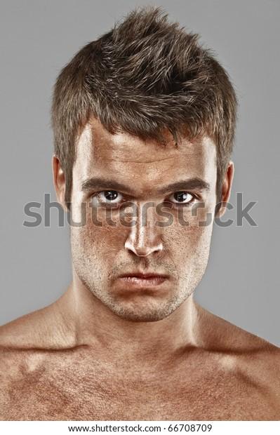 Studio Portrait Confident Young Man Plaid Stock Photo
