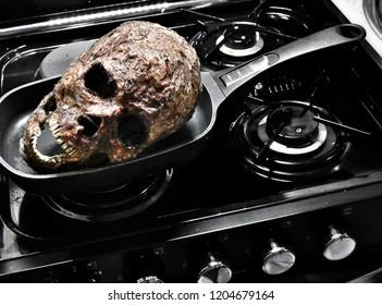 Severed head human skull burnt flesh halloween sfx makeup