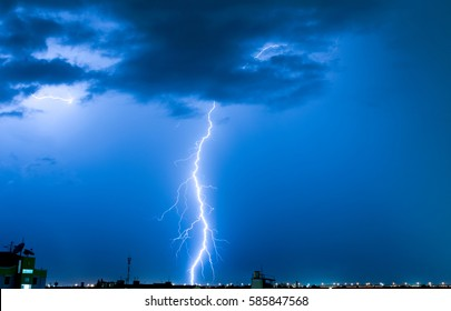 Severely lightning, thundering down the center town.