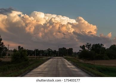 A severe-warned thunderstorm in Iowa.