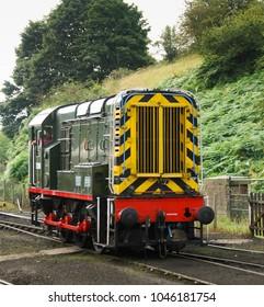 Severn Valley Railway, Bridgenorth, England - August 2016: Wide angle front view of a diesel shunter locomotive