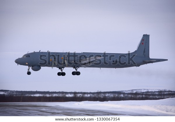 Severomorsk, Murmansk Region, Russia - February 28, 2012: Routine busy day at the airbase. Flying of Il-38 (is a maritime patrol aircraft and anti-submarine warfare aircraft)