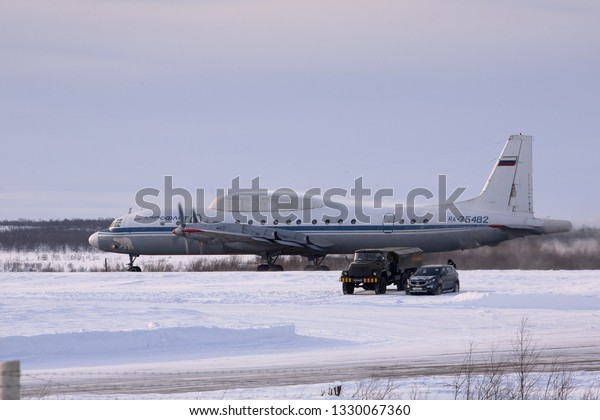 Severomorsk, Murmansk Region, Russia - February 28, 2012: Routine busy day at the airbase. Flying of Il-20rt
