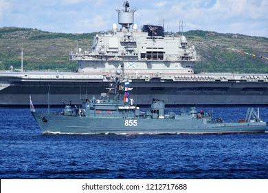 Severomorsk, Russia - July 30, 2017: A sea minesweeper battleship in the Kola Bay on the Navy Day 2017.