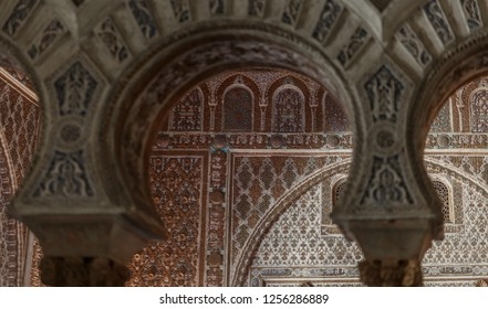 Sevilla Alcazar Ambassadors room with horse shoe arches typical moorish plaster work in Mudejar arquitecture
