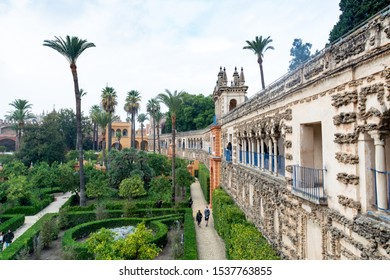 Sevilla, Andalusia / Spain - November 4, 2018:  view of the royal gardens, the labyrinth and the rampart, Real Alcazar, UNESCO Humanity Heritage.