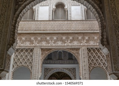 Sevilla, Andalusia / Spain - November 4, 2018:  marble architecture, Real Alcazar, UNESCO Humanity Heritage.